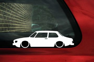 2x LOW Saab 99 Turbo / GLS outline silhouette stickers, Decal